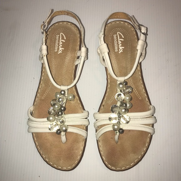 Clarks Shoes - Clarks Bendable Pearl & Clear Bead Buckled Sandal